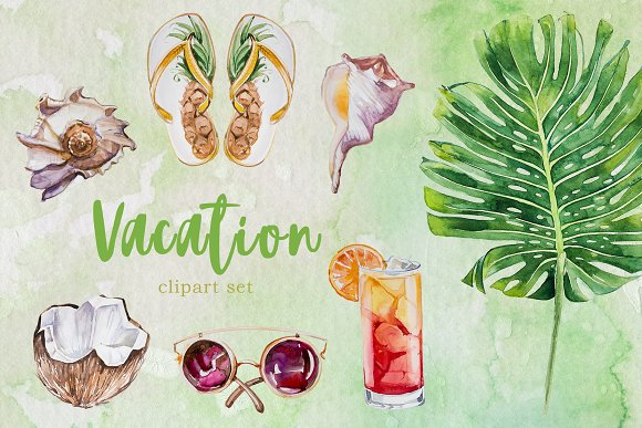 Watercolor Vacation Clipart Set in Illustrations