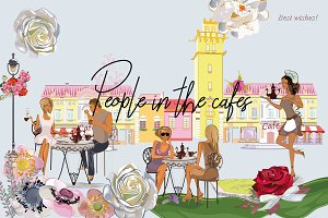 Series of cafes with fashion people.