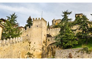 View of city walls of San Marino