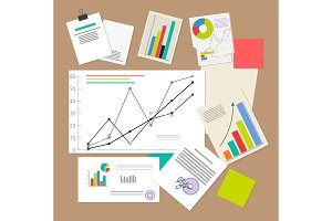 Statistic Documents, Colorful Vector Illustration
