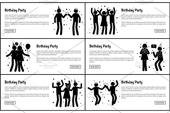 Birthday Party Promotional Monochrome Banners Set