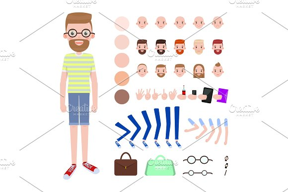 Young Guy with Spare Body Parts and Accessories in Illustrations