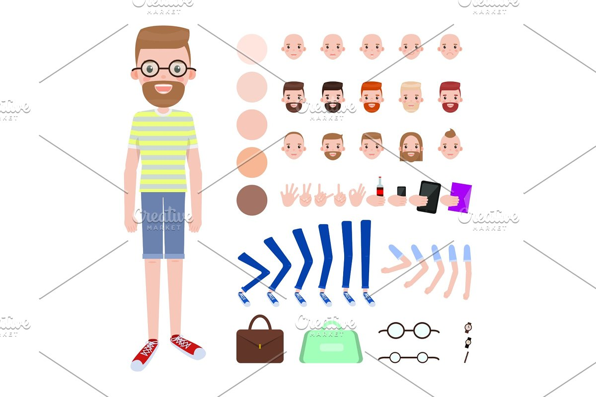 Young Guy with Spare Body Parts and Accessories in Illustrations - product preview 8