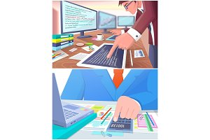 Business Work Collection, Vector Illustration