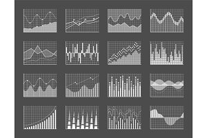 Graph Collection Poster Set Vector Illustration