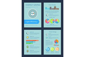 Energy Saving and Clean Set Vector Illustration