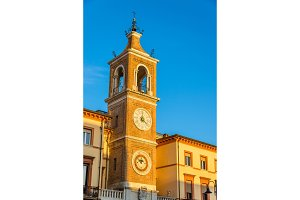 Clock tower on Martiri Square in Rimini - Italy