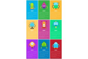 Robot and Text Samples Set Vector Illustration