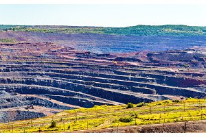Iron ore mining in Mikhailovsky field within Kursk Magnetic Anom