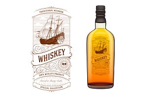Vintage Whiskey Logo with Ship