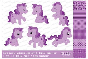 Purple unicorns / clip art set