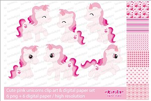 Pink unicorns / clip art set