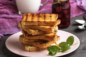Fried square bread