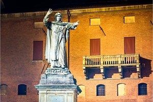 Monument to Girolamo Savonarola in Ferrara - Italy