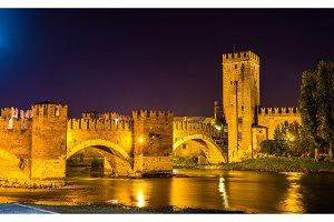 The Castel Vecchio Bridge in Verona - Italy