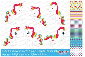 Rainbow unicorns / clip art set