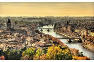 View of Verona in the morning haze - Italy
