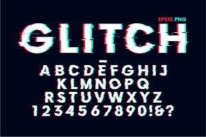 Glitch effect vector font