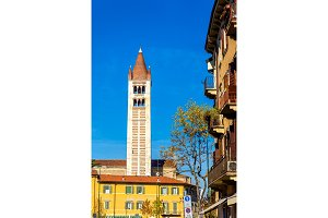 View of bell tower of Basilica of San Zeno in Verona