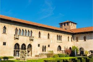 Courtyard of Castelvecchio fortress in Verona - Italy