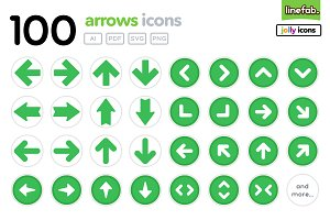 100 Arrows Icons - Jolly - Green