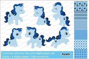 Blue unicorns / clip art set