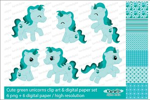 Green unicorns / clip art set
