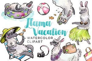 Llama Summer Beach Vacation Clipart