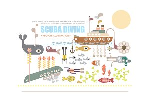 Scuba Diving vector illustration