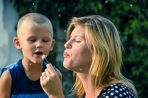 A girl and a boy are blowing on a dandelion. Blowing of dandelion seeds
