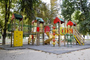 Children's playground in the city park. A modern playground in the city