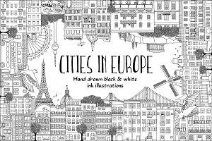 Cities in Europe - hand drawn set