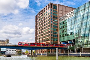 Docklands Light Railway in Canary Wharf business district of Lon