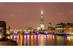 Skyline of London with the Thames river - England