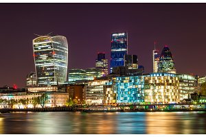 Skyscrapers of the City of London at night - England