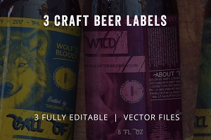 3 Craft Beer Labels - Print Ready