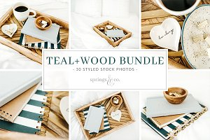 Teal+Wood Styled Stock Photo Bundle