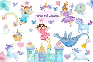 Watercolor Fairies and Unicorns