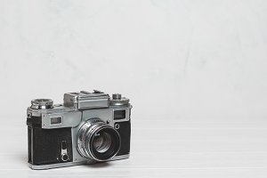 Background with vintage camera