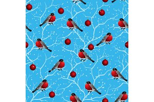 Winter seamless pattern. Birds on a tree in Christmas