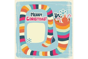 Vector Christmas background with funny socks for gifts