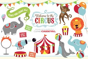 Cute baby circus animals clip art