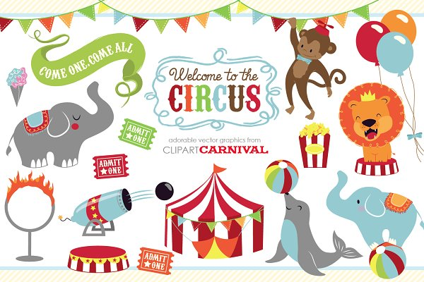 Cute baby circus animals clip art