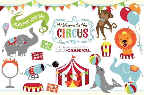 Cute Baby Circus Animals Clip Art Illustrations