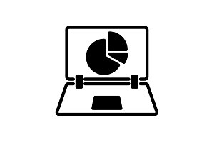 Web line icon. Laptop and pie-chart