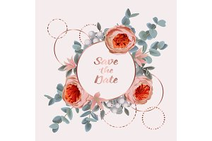 Save the Date card with Eucalyptus, Flowers and Pink golden Frame