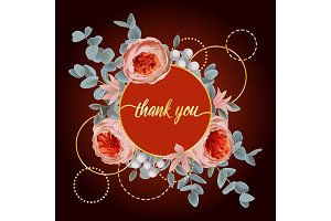 Thank You card with Eucalyptus, Flowers and Pink golden Frame