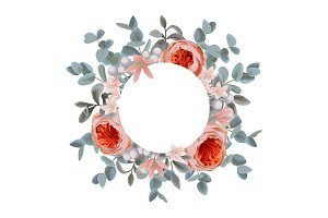 Template greeting card with Eucalyptus, Flowers and round Frame