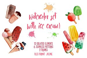 Watercolor set with ice cream