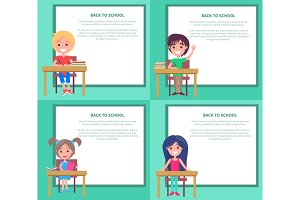 Back to School Set of Vector Illustrations Kids